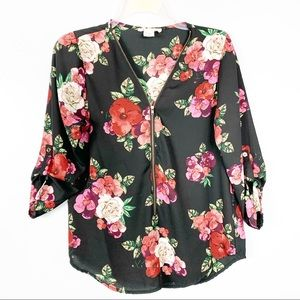 Love Spell Black Floral Shirt Size M